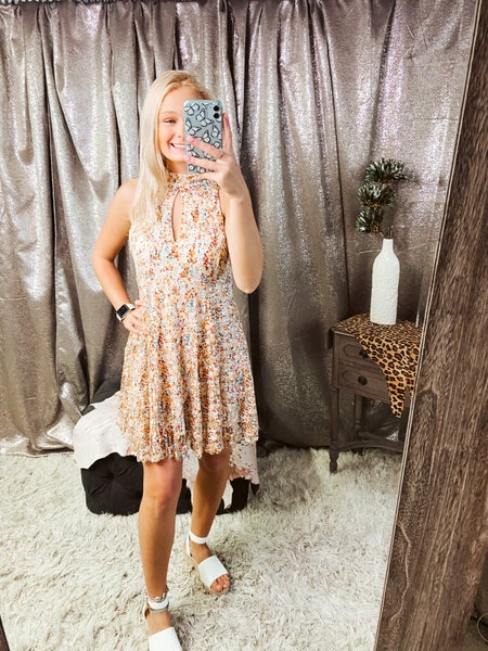 Printed Lace Overlay Dress