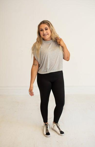 Black Full Length Leggings w/ Side Pockets