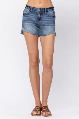 Mid Rise Half Cuffed Shorts