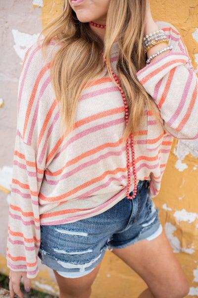 Oatmeal, Mauve, & Orange Striped Top