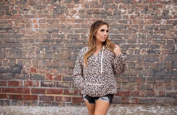 Light Pink Leopard Print Pullover