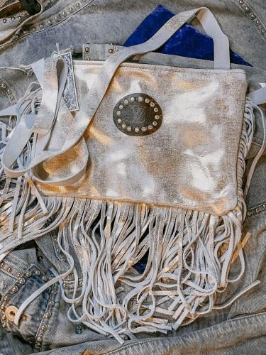 Metallic Gold/White Fringe Crossbody
