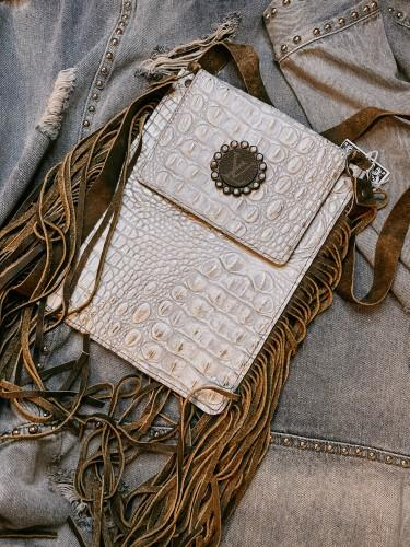 White Fringe Studded Upcycled LV Crossbody