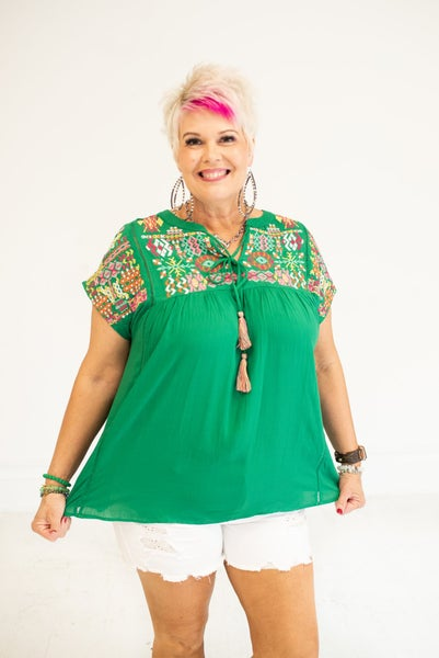 Electric Green Boho Embroidered Top with Tassel
