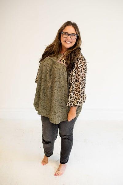 Olive Loving You Mix Cheetah Chiffon Long Sleeve Blouse