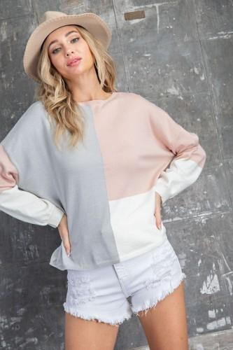 Pink, Gray, & White Colorblock