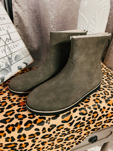 Olive Suede Boot