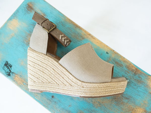 Taupe Canvas Wedge with Jute