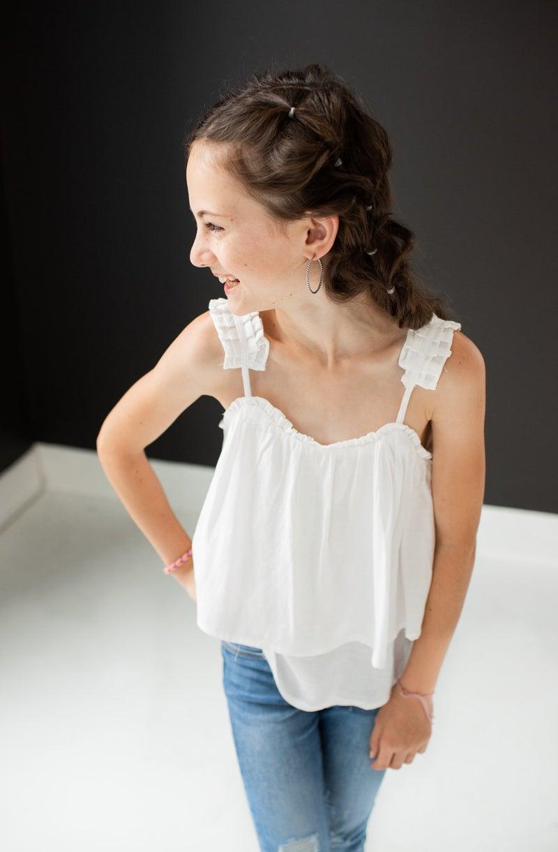 White Child Tank w/ Adjustable Straps