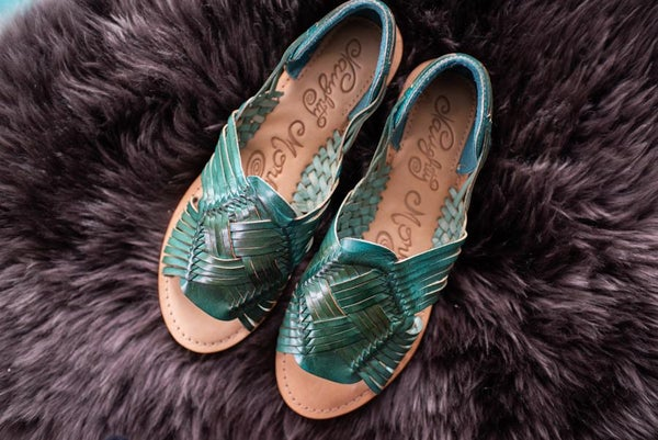 Teal Leather Moccasin Sandal