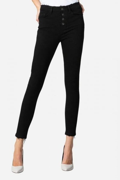 High Rise Black Button Up Cropped Skinny