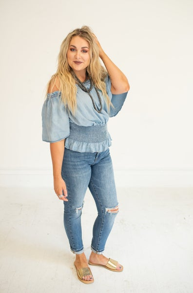 Woven Chambray Off the Shoulder Smock Waist Top