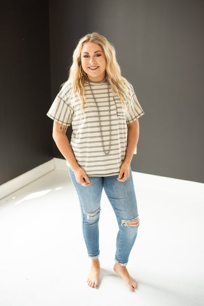 Oatmeal Classic Stripe Tee with Square Pocket
