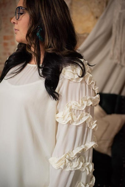 L/S Cream Blouse with Ruffle Detail