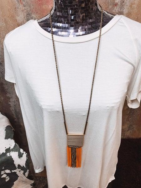 Gold & Orange Fringe Necklace