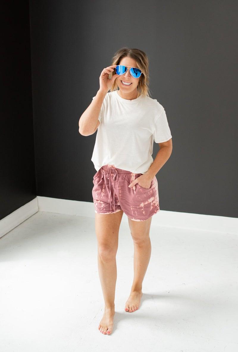 Woven Mauve Tie Dye Shorts