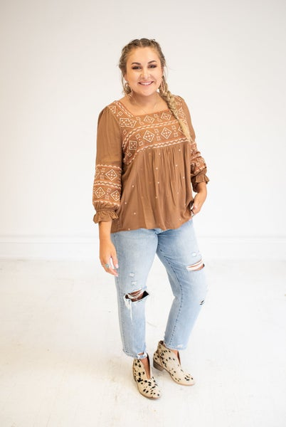 Camel Embroidered Square Neck Blouse