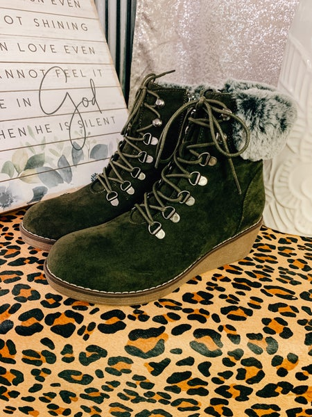 Green Lace Up Wedge Boot