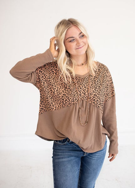 Soft Clay Animal Print V Neck with Criss Cross Back Detail