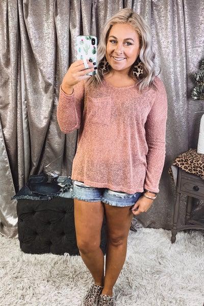 Sweater Knit V Neck w/ Pocket