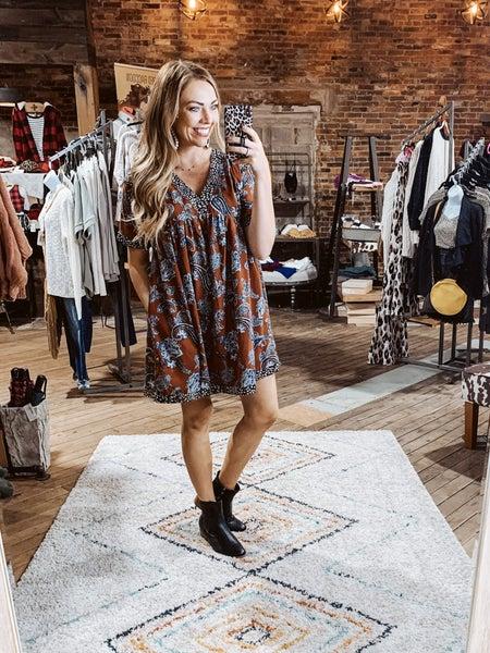 Rust Printed Dress w/ Back Tie