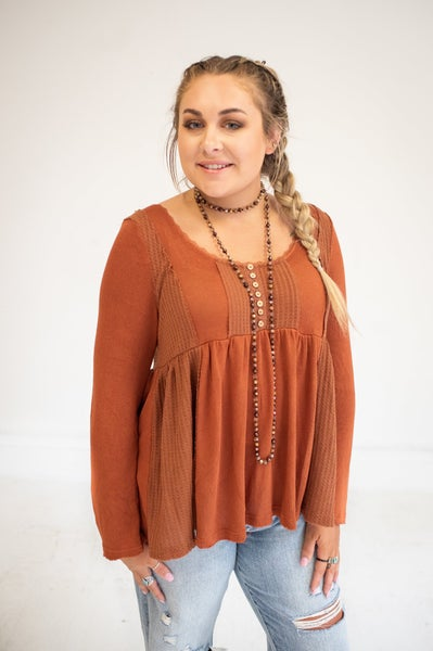 Rust Waffle Mix Tie Lace Back Long Sleeve Top