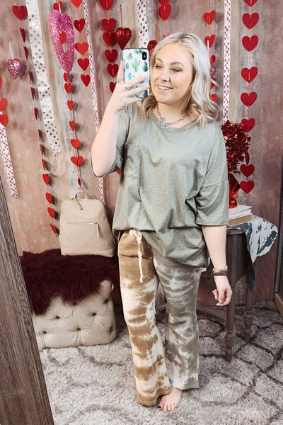 Gray & Taupe Tie Dye Flared Sweatpants