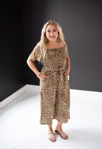 Coffee Dotted Print Smocked Jumpsuit with Buttons