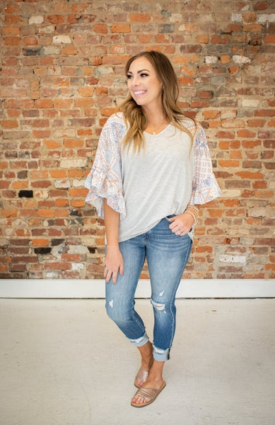 Striped Top w/ Patterned Blue Sleeve