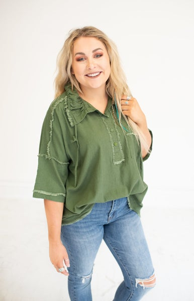 Olive Linen Washed Front Button Top