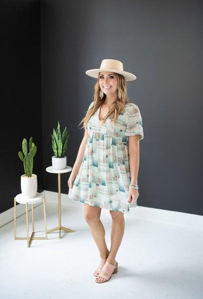 Sage Patterned Dress w/ Cuffed Sleeve