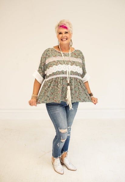 Sage Floral Blouse with Crochet Detail