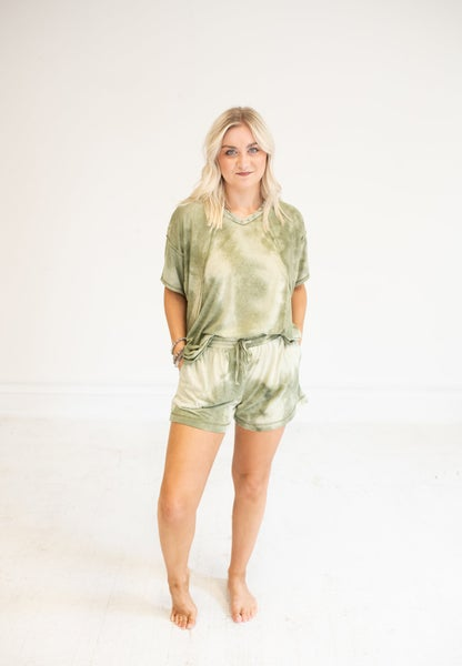 Olive Tie Dye Shorts with Pockets