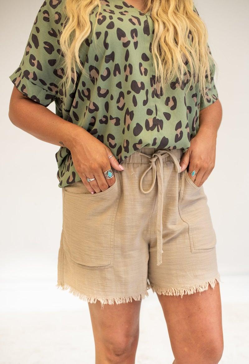 Taupe Linen Fray Hem Short with Pockets + Drawstring Waist