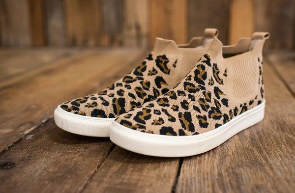 Tan Leopard Woven Slip on Sneaker