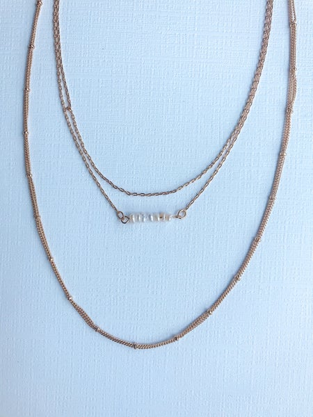 Triple Layer Pearl Bar Necklace