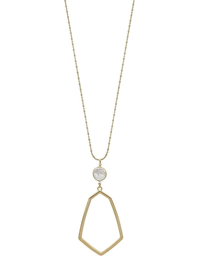 Geometric Pearl Long Necklace