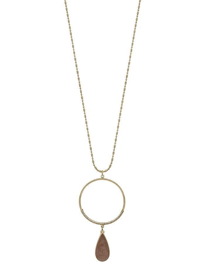 Long Stone Teardrop Circle Necklace