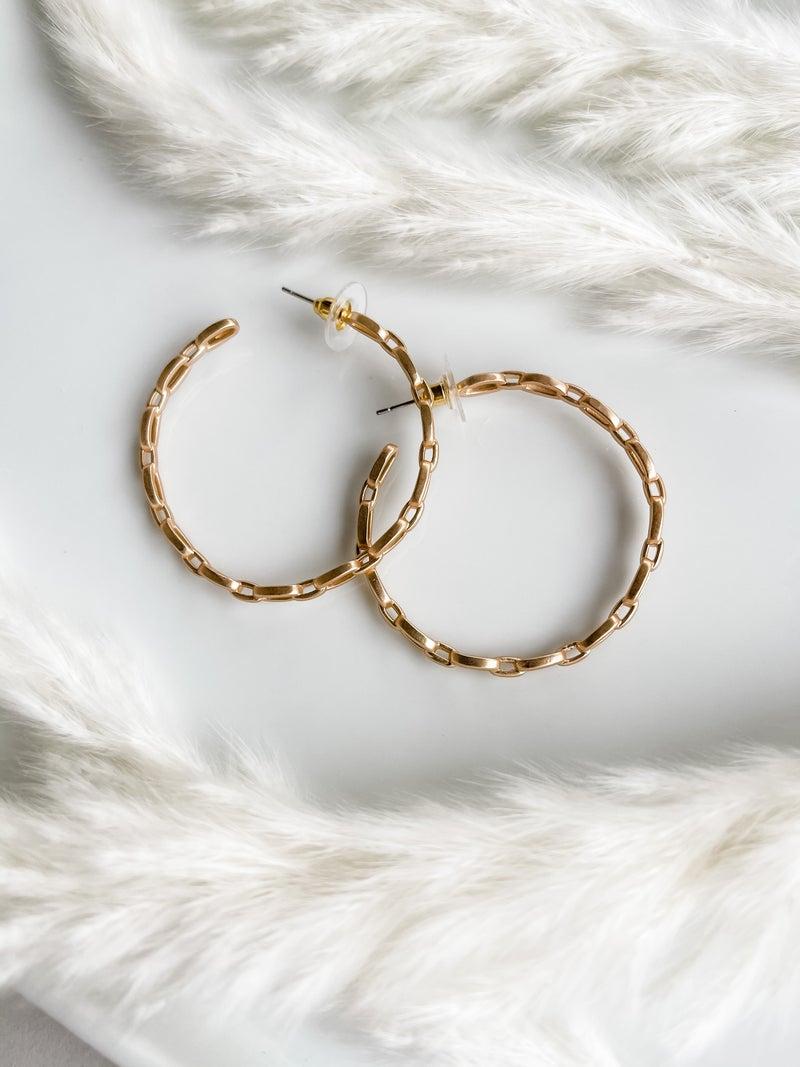 """Chain Link Hoop Earrings 2"""""""