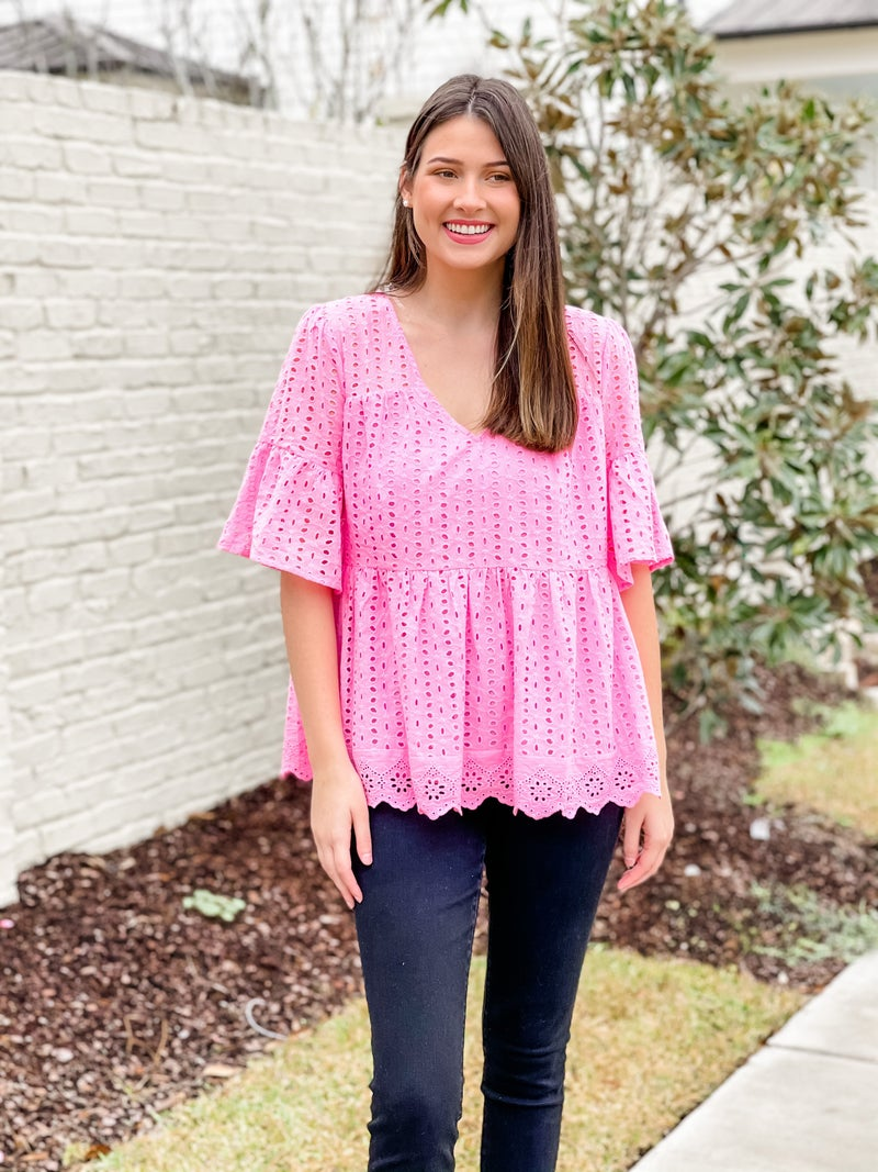 Be Mine Eyelet Top