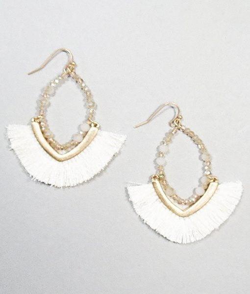Crystal Beaded Tassel Earrings
