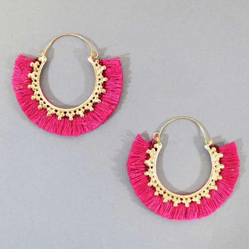 Boho Fringe Fuchsia Earrings