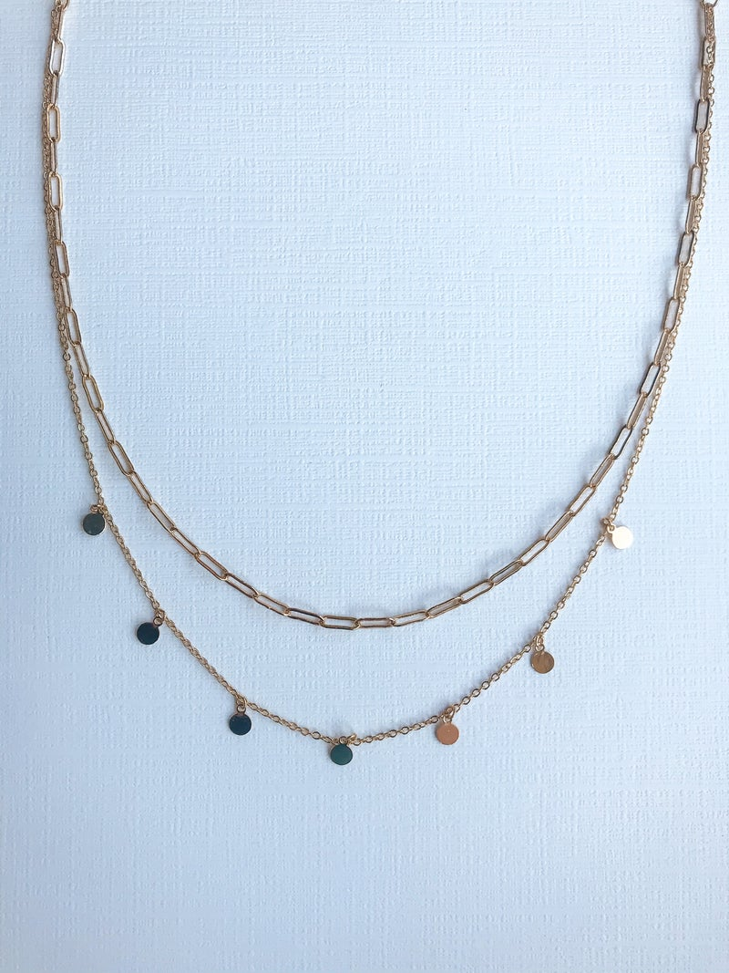 2 Layered Circle Chain Necklace