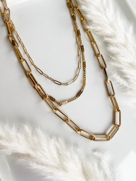 Triple Layer Chain Link Necklace