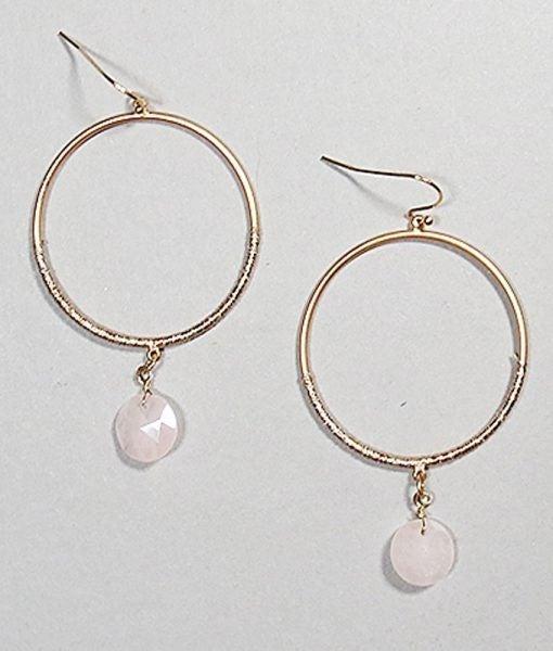 Stone Hoop Dangle Earrings