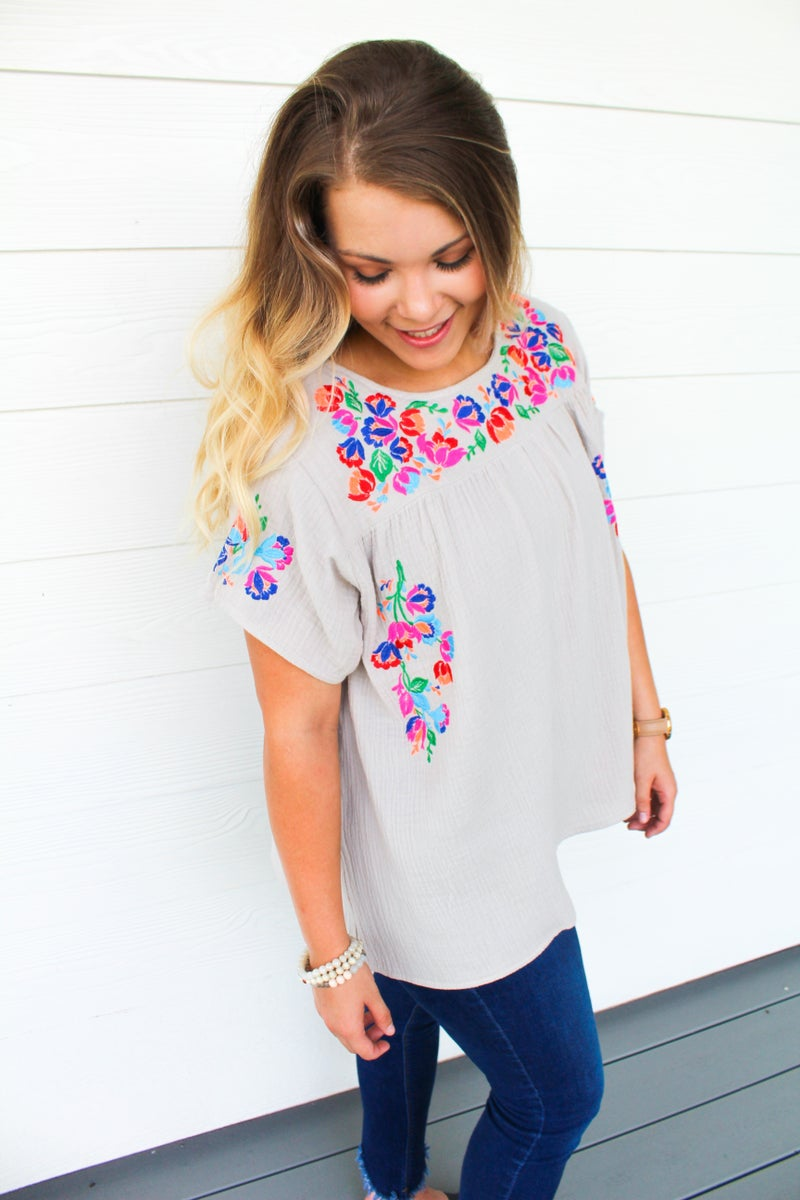 Embroidered Perfection Top *FINAL SALE*