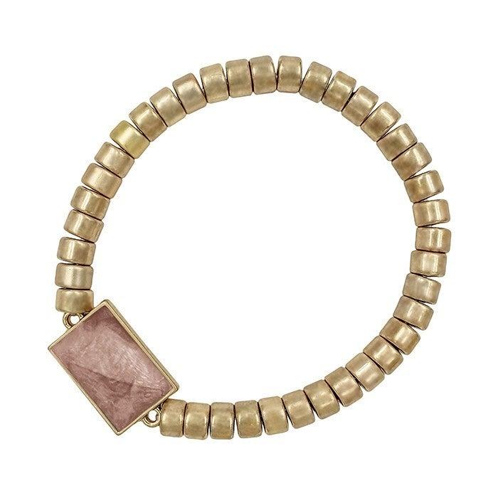 Stone Rectangle Coin Stretch Bracelet