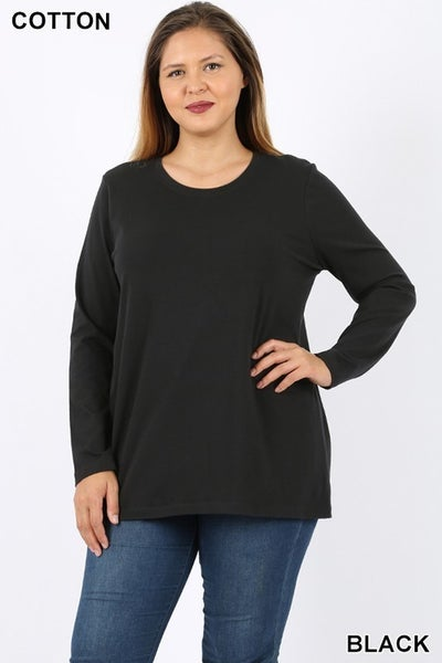 Plus Eggplant, Black, Drk Purple, or White Long Sleeve Top with Round Neck