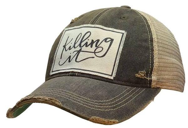 """Black """"Killing It"""" Distressed Trucker Hat"""
