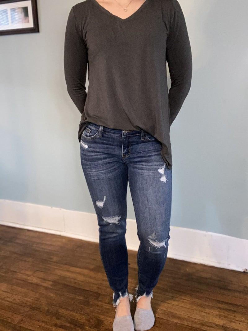 Reg/Plus Judy Blue Shark Bite Skinny Jeans